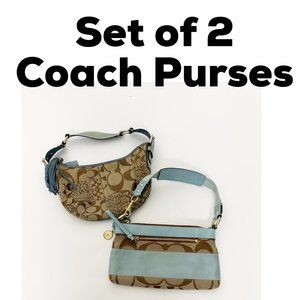 Set of 2 COACH Printed Cosmetic Hand Bags